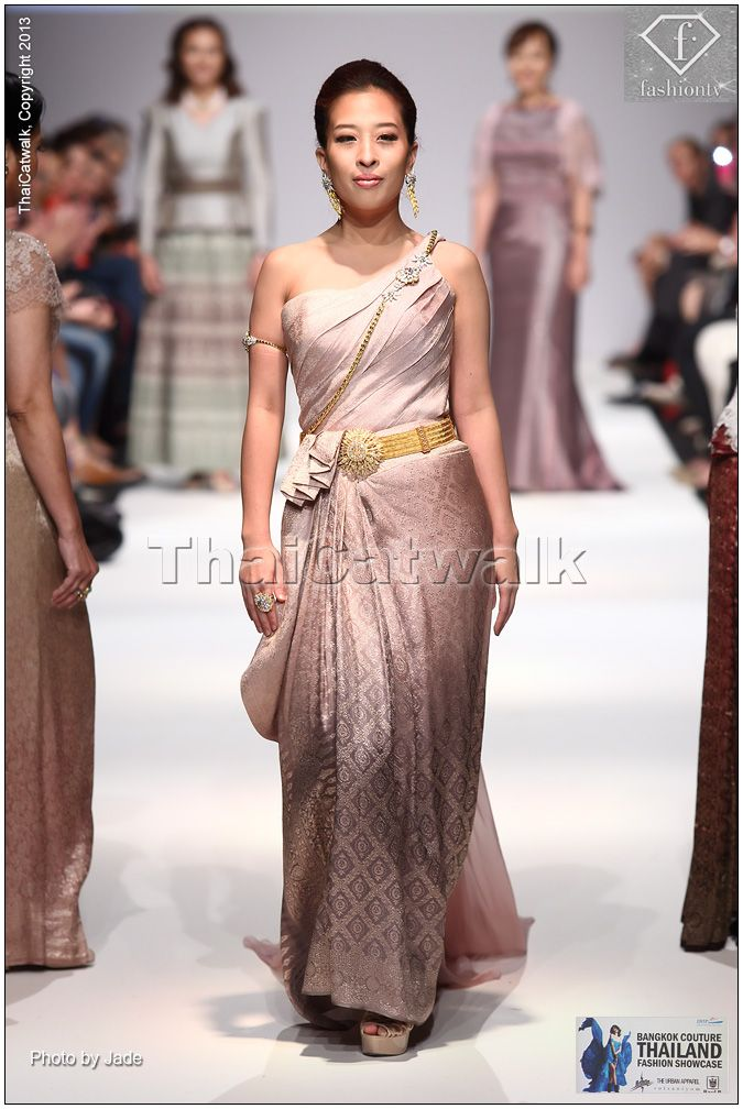 "HRH Princess Bajrakitiyabha of Thailand wears applied Royal Thai silk dress by ""Arada Couture"" with ""Royal Chakri diamond buckle and golden belt"" on MQ Vienna Fashion Week 2013"