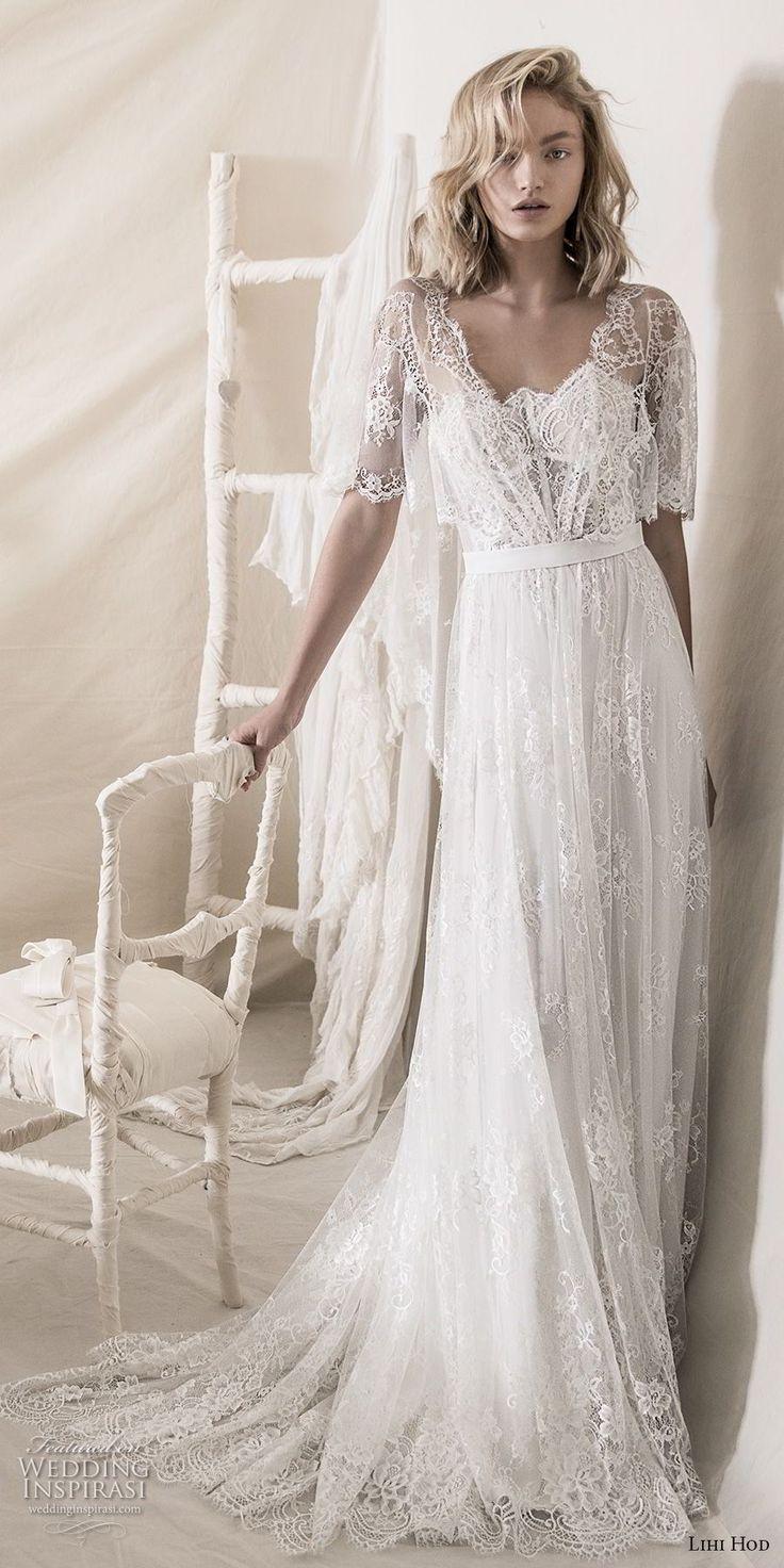 lihi hod 2018 bridal half bell sleeves square neckline full embellishment romantic bohemian soft a  line wedding dress open v back medium train (7) mv -- Lihi Hod 2018 Wedding Dresses