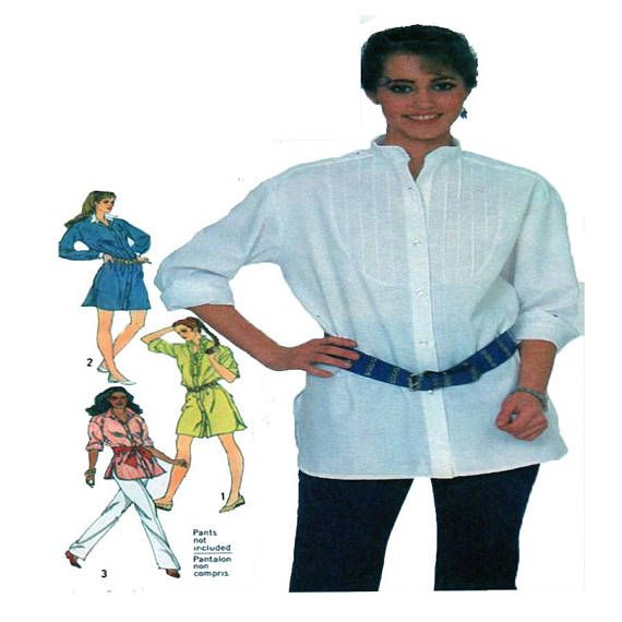 Simplicity 5569, Women, Shirt, Sewing Pattern, Collared Blouse, Shirt Dress, Long Sleeve Top, Blouse, Size 14, UNCUT, 80s Sewing Pattern
