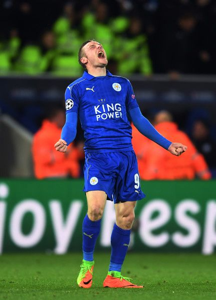 Jamie Vardy of Leicester City celebrates his team's 3-2 agg victory following the final whistle during the UEFA Champions League Round of 16, second leg match between Leicester City and Sevilla FC at The King Power Stadium on March 14, 2017 in Leicester, United Kingdom.