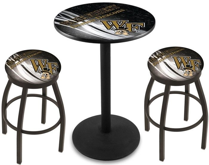 Wake Forest Demon Deacons D2 Black Pub Table Set.  Available in two table widths. Visit SportsFansPlus.com for Details.