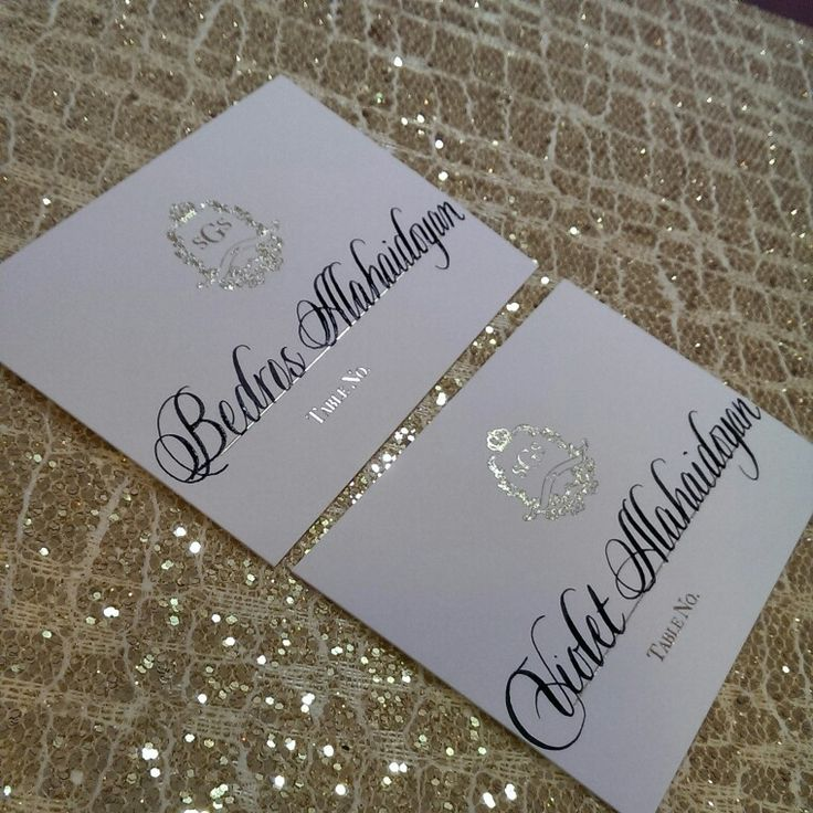 Calligraphy On Beautiful Gold Foil Place Cards
