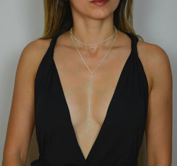 Dainty Lariat Necklace gold Y Necklace Gold Lariat Silver