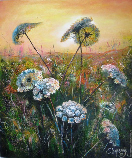 Картины цветов ручной работы. Ярмарка Мастеров - ручная работа. Купить картина маслом на холсте, картины цветов, летний пейзаж, белые цветы. Handmade.