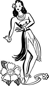 Hula dancer by @liftarn, Vintage hula dancer traced from http://thegraphicsfairy.com/retro-clip-art-hawaiian-ladies-dancers/