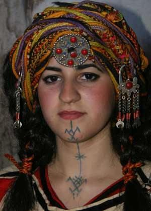 Africa |  Portrait of a young woman dressed to go to a party in Algeria.: Tattoo Ideas, Belly Dance, Pretty Eye, Berber Amazigh, Young Women, Facials Tribal Tattoo, Berber Woman, Faces Tattoo, Berber Girls