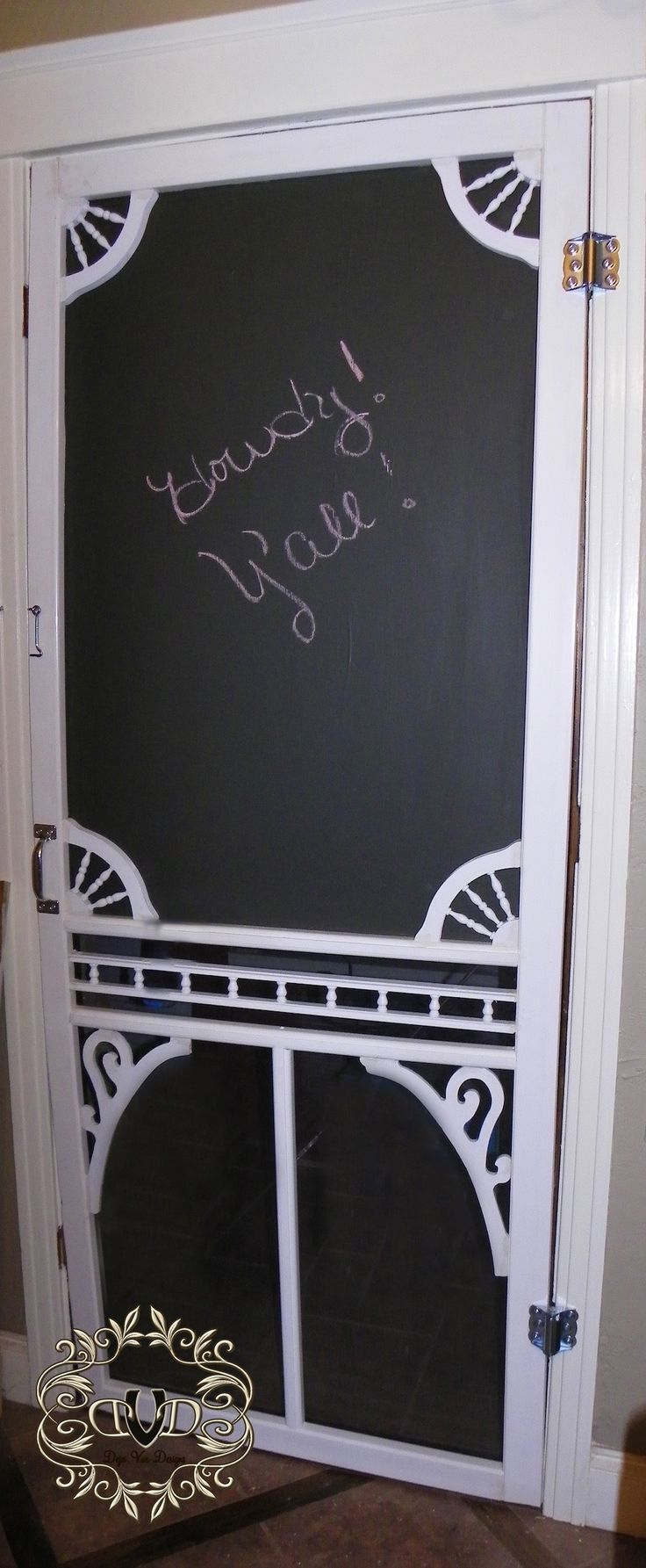 wooden screen door/chalk board to the laundry room. She shows you how to add all the charm too.