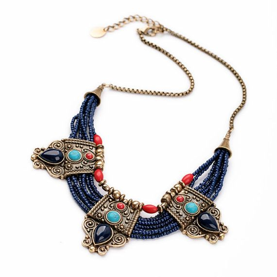 Blue Red Bohemian Necklace Bead Statement by ElenaBellJewelry