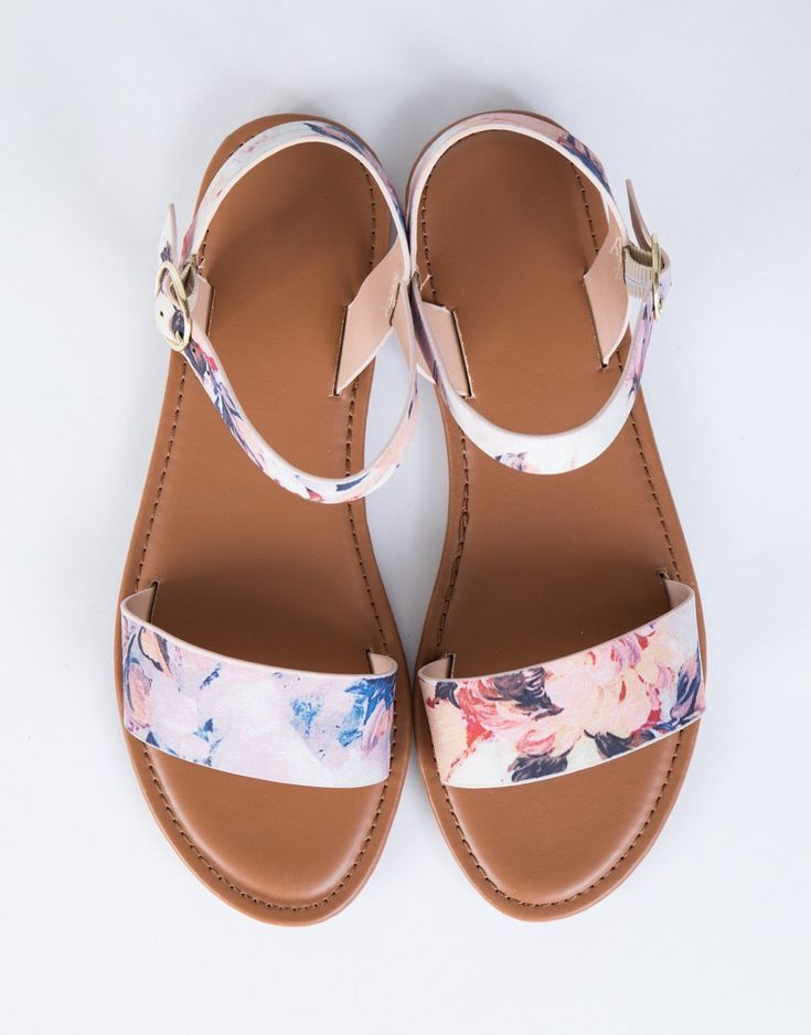 Watercolor Floral Sandals
