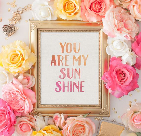 Printable Wall Art  You Are My Sunshine  by SmudgeCreativeDesign