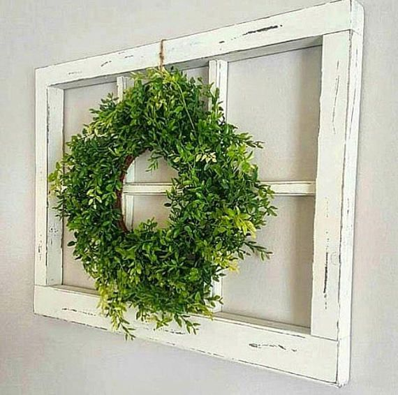 Distressed Window Frame For Rustic Home Decor These Are Super Cute And Add Just The Right Touch Of Farm Old Window Decor Rustic Window Frame Window Wall Decor