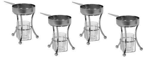 "(Set of 4) Stainless Steel Tabletop Butter Warmers by Chef Kitchen. $26.49. Ideal for serving melted butter with artichokes, lobster and other seafood. Warms butter without the risk of burning or scorching. Easy to use and easy to clean. -Set of 4- Individual Stainless Steel butter melting set, Dim.: 4-1/2"" H x 3-1/2"" W. Each set Includes: Stainless steel base, warmer pan, and glass flame holder. Keeps butter warm and melted, Use for artichokes, pancakes, lobster and other..."