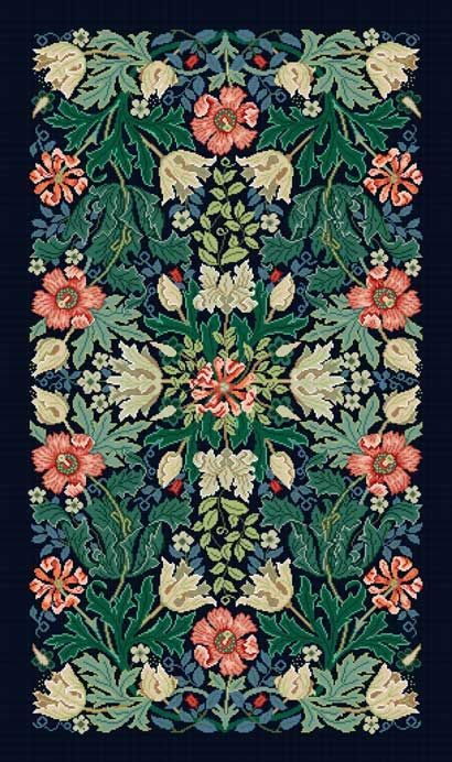 Blue Compton rug: Beth Russell canvas based on William Morris design.