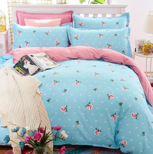 Classic bedding set 5 size grey blue flower bed linens 4pcs/set duvet cover set Pastoral bed sheet AB side duvet cover 2017 bed