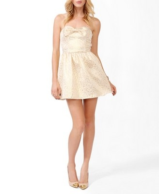 Christmas Party Option: Brocade Bow Tube Dress | FOREVER21 - 2025101558 $29.80
