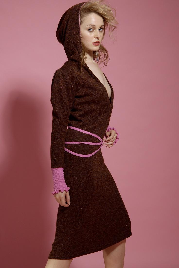 My Model Wears 'Lotus' Wool 2 Tone Hoody Dress...