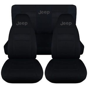 Jeep-wrangler-TJ-front-back-car-seat-covers-solid-black-w-Jeep-CHOOSE-COLOR