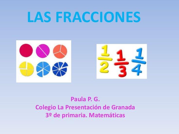 PowerPoint realizado por una alumna de 3º de primaria del colegio La Presentación de Granada sobre la fracciones para la asignatura de matemáticas.