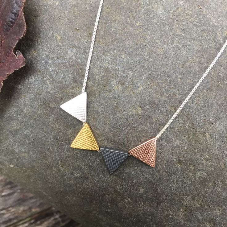 Mixed Triangle Pendant #triangles #rosegold #pendant #handmadeinlondon ´#jewellery