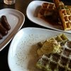 Albondigas Waffles, Green Tea Waffles and House Made Sausage At Waffles Chicago. MUST GO!!!!!