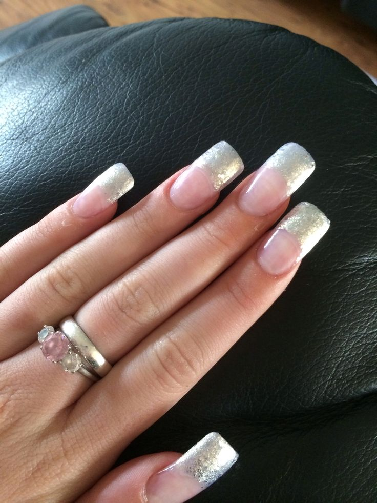 Simple white glitter french manicure style design nails for Acrylic nail decoration