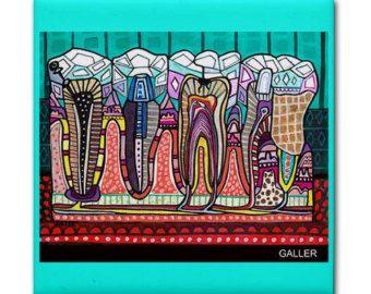 Tooth Dental Anatomy Art Tile Ceramic Coaster by HeatherGallerArt