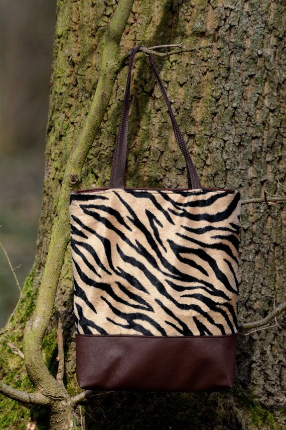 Tiger striped hand made tote bag