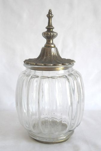 Jar Clear Glass Ribbed Apothecary Jar w Ornate Metal Lid