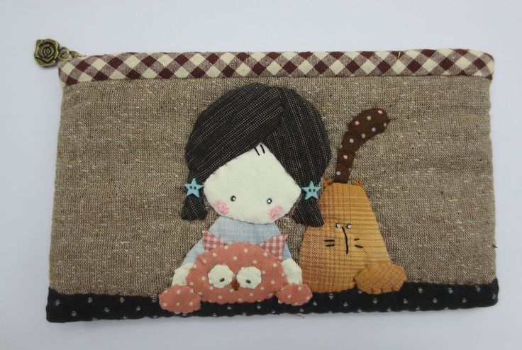 quilt Shinnie girl cat  pencil cosmetic cell phone pouch purse mini case bag #Handmade #CosmeticBags