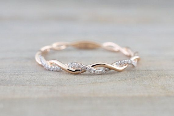 14 k Rose Gold Runde Diamanten Seil gewunden Rebe Verlobung Pflastern stapelbar Stapeln Versprechen Ring Jubiläum