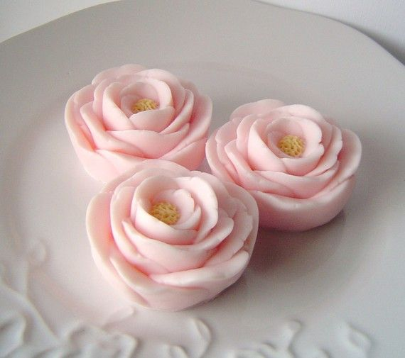 Lovely Pale Pink Rose Trio-Goat's Milk Soap-Rose and Violet Scented