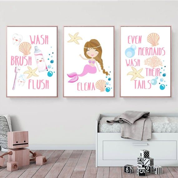 Mermaid Girl Bathroom Printable Art Set Personalized Bathroom Etsy In 2020 Bathroom Art Printables Personalized Bathroom Printable Art Set