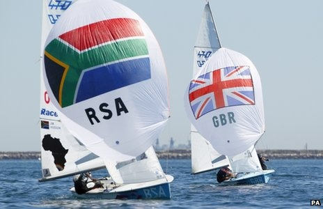 Great Britain's 470 Men sailors Luke Patience and Stuart Bithell in Portland Harbour, Dorset (BBC)
