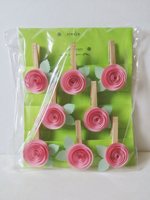 Pink Rose Wedding Wish Tree Tag Hanger 8 Clothespin Magnet Party