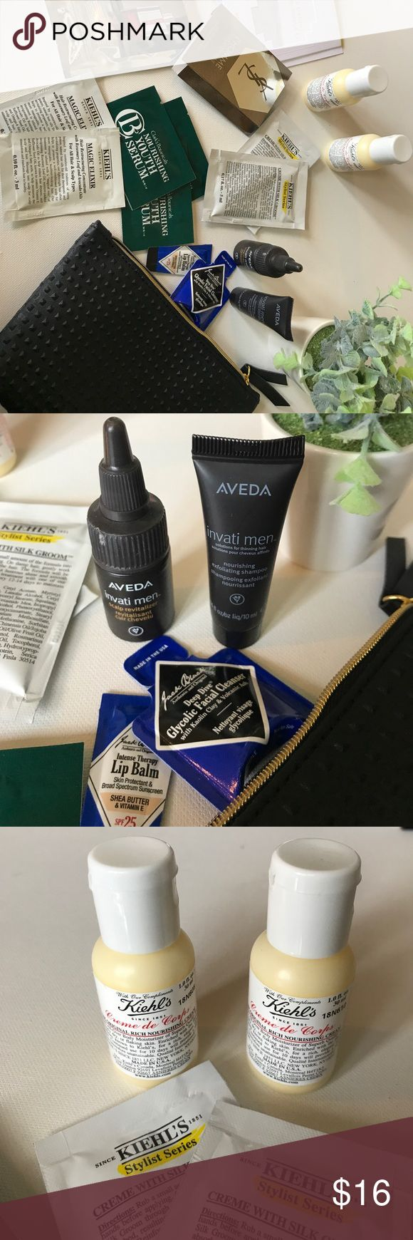 Men's Aveda & Kiehl's Travel Bundle Condition: Brand New/Unused 💋  Men's Travel Bundle Includes:   Deluxe Travel Sizes: Aveda Invati Nourishing Exfoliating Shampoo Aveda Invati Scalp Revitalizer Kiehl's Creme de Corps Rich Cream x 2 Black studded Ipsy toiletries bag  Sample Packets: Kiehl's Jack Black Clark's Botanicals Prada Sport Hermès Le Jardin de Monsieur Li YSL L'Homme Victor & Rolf Spicebomb Commodity Bergamot   🍍🍍🍍New! Bundle & Save with my Other Listings! Sephora Makeup