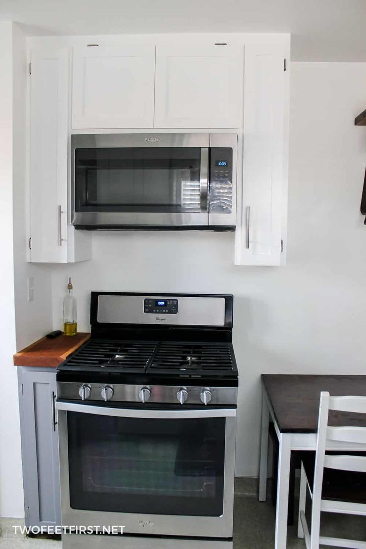 Installing an overtherange microwave microwave in