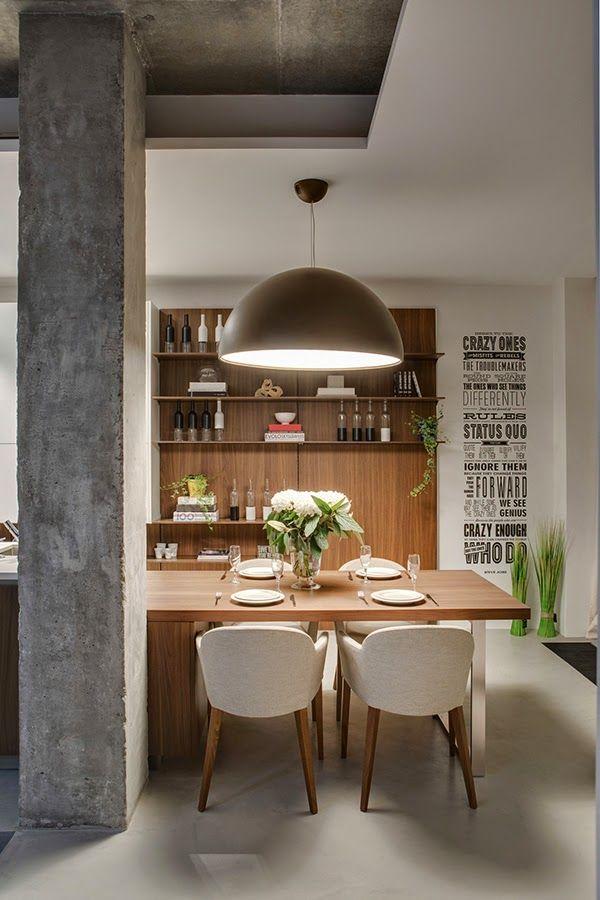 Casinha colorida: Estilo loft: cozinhas, salas de estar e jantar