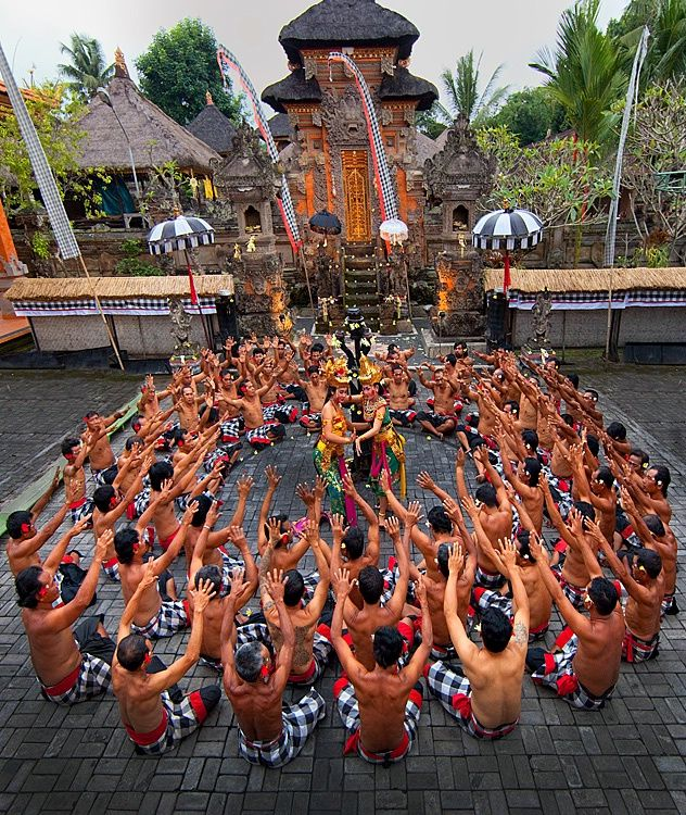 Kecak fire dance  The shirtless guys are singing acapella