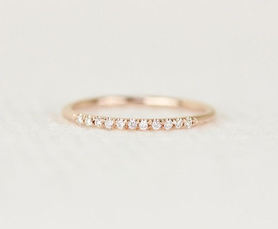 14k Rose Solid Gold Diamonds Wedding Band In micro by KHIMJEWELRY