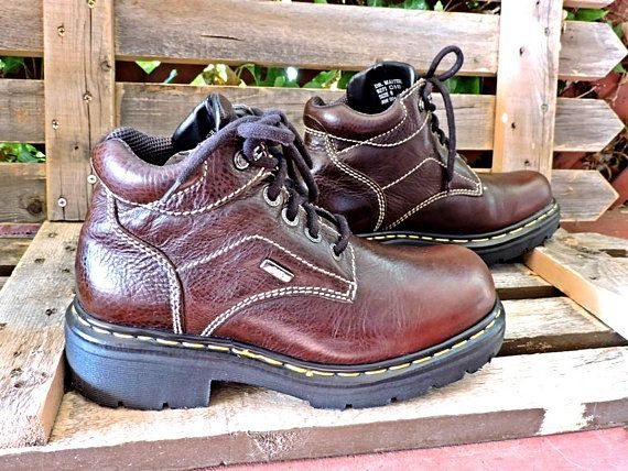 69864703136f Vintage Dr Martens UK 8 Mens 7.5 Womens 10   made in England   90s Docs    Air cushioned   brown leather   lace up ankle boots   Grunge