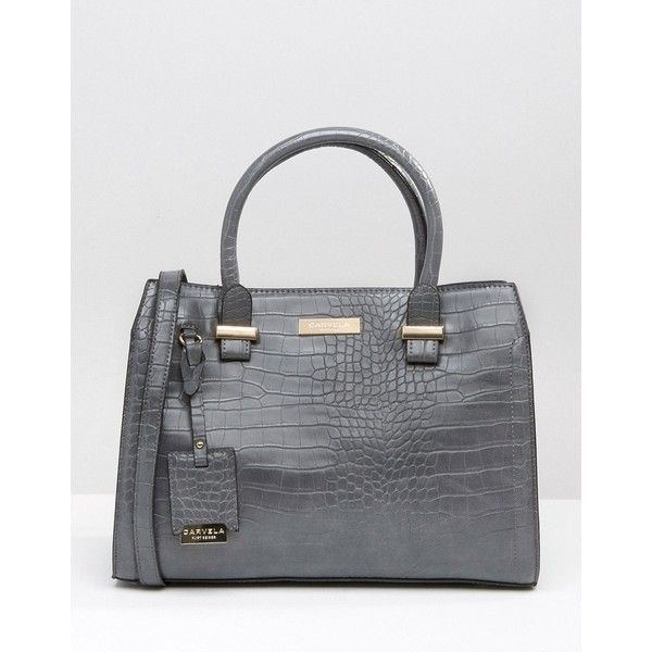 Carvela Tote Bag In Mock Croc (305 RON) ❤ liked on Polyvore featuring bags, handbags, tote bags, grey, gray purse, crocodile purse, grey tote, grey tote bag and gray tote