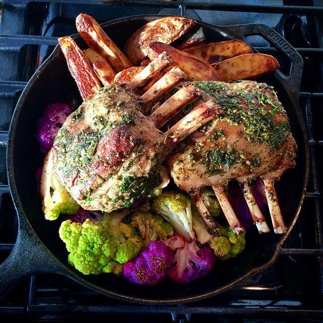 Rack of lamb with garlic & herbs, lemon roasted cauliflower and paprika roasted potatoes. #lodgecastiron @zimmysnook