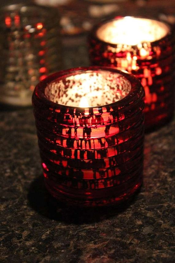 10 RED MERCURY GLASS Style Votive Candle Holder Painted ...