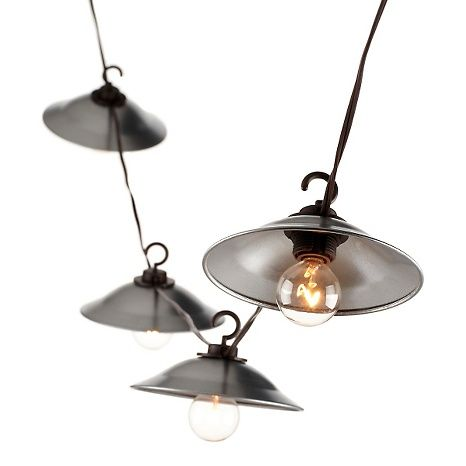 "Indoor/Outdoor Globe String Lights with 8"" Metal Covers"
