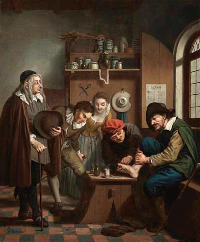 de barbier chirurgijn behandelt een pati nt levende historie burgerweeshuis amersfoort in 1600. Black Bedroom Furniture Sets. Home Design Ideas