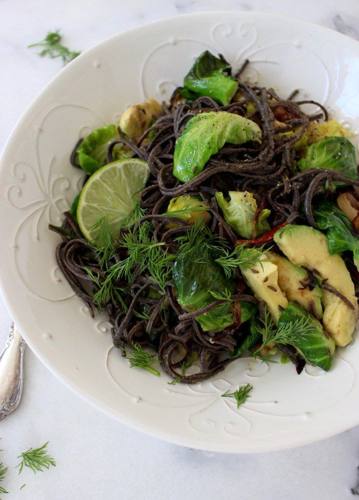Black Bean Spaghetti Recipe with Brussels Sprouts & Avocado, Vegan & Gluten Free | CiaoFlorentina.com