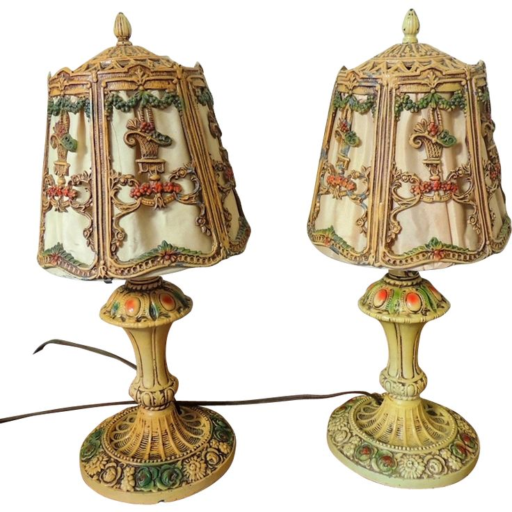 Deco Iron Table Lamps Flower Basket Lattice Swag. Antique LampsVintage ...