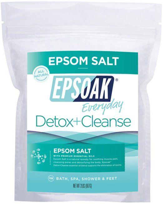 Epsoak Epsom Salt | Detox + Cleanse - 2lb For Bath, Spa, Shower & Feet (Everyday Epsom Salts)
