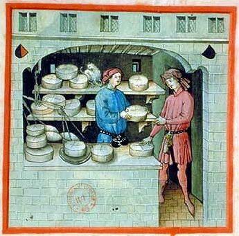 A cheese merchant; Tacuinum Sanitatis, 15th c., Paris.  A Feast For The Eyes