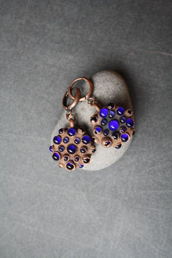 DragonGlass blue earrings от LikeAGlassShop на Etsy